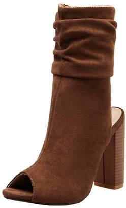 Goodnight Macaroon 'Martha' Ruched Peep Toe Chunky Heel Boots