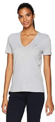 Lacoste Women's Short Sleeve Classic Supple Jersey V-Neck T-Shirt