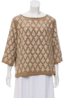 Dries Van Noten Embellished Short Sleeve Top
