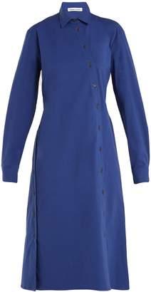 Tomas Maier Cotton-poplin asymmetric-button dress