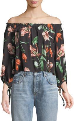 Astr Chavelle Off-The-Shoulder Floral Blouse