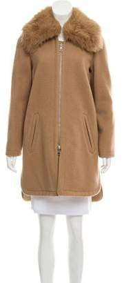 Chloé Shearling-Accented Wool Coat