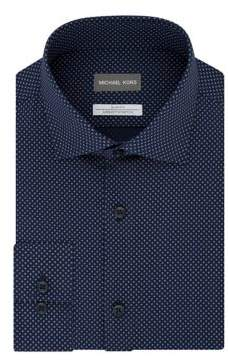 Michael Kors Slim-Fit Printed Stretch Dress Shirt