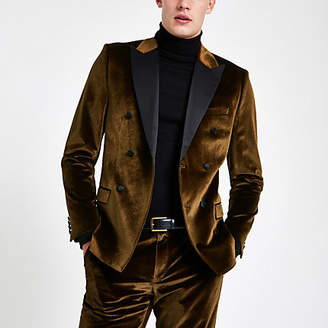 River Island Gold velvet double breasted suit jacket