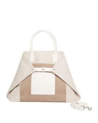 Akris Ai Medium Canvas & Leather Top-Handle Bag