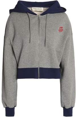 Être Cécile Two-Tone Embroidered Cotton-Terry Hooded Sweatshirt