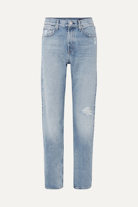 Rag & Bone Distressed High-rise Straight-leg Jeans - Light blue