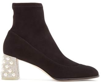 Sophia Webster - Felicity Crystal Embellished Suede Ankle Boots - Womens - Black Silver