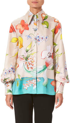 Carolina Herrera Long-Sleeve Floral-Print Silk Button-Front Shirt