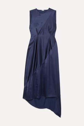 Loewe Tie-detailed Open-back Satin Midi Dress - Navy