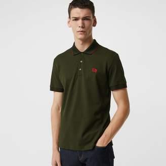 Burberry Tipped Cotton Pique Polo Shirt, Green