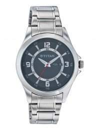 Titan Men's 9323SM04 Contemporary Black Dial Silver Metal Strap Watch