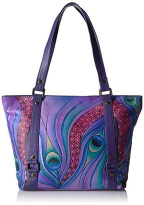 Anuschka Anna by Handpainted Leather Classic Large Tote Dreamy Peacock Dewberry