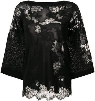 Ermanno Scervino wide-sleeve lace blouse