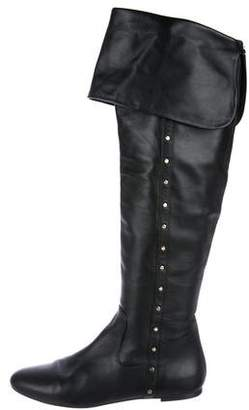 Gianni Versace Leather Over-The-Knee Boots