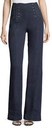 Nanette Lepore Te Amo Lace-Up Boot-Cut Jeans