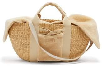 Muun George Shearling And Woven Straw Bag - Womens - Beige