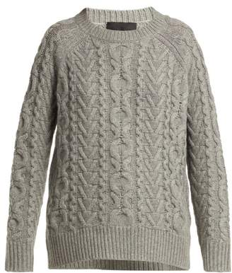 Nili Lotan Arienne Aran Knit Cashmere Sweater - Womens - Grey