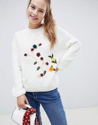 Wild Flower Sweater With 3D Floral Embroidery