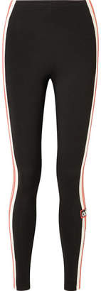 adidas Striped Stretch-cotton Jersey Leggings - Black