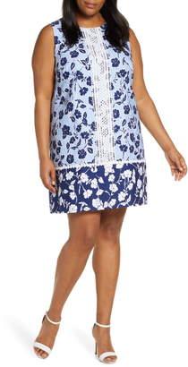 Eliza J Sleeveless Lace Trim Floral Shift Dress