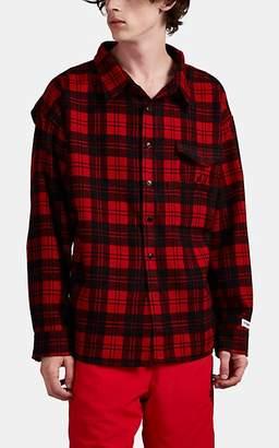 Vetements Men's Plaid Cotton Flannel Work Shirt - Red