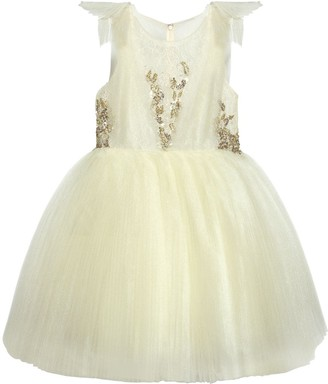 Mischka Aoki LACE & PLISSE STRETCH TULLE PARTY DRESS