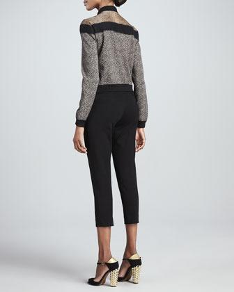 Fendi Paneled Knit Bomber Jacket