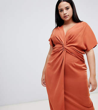 26cca14dbe Asos DESIGN Curve twist midi dress with kimono sleeve