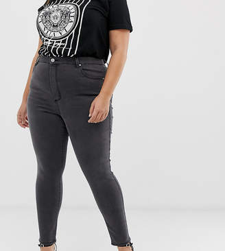 Asos DESIGN Curve 'Sculpt me' high waisted premium jeans in dark smokey grey wash