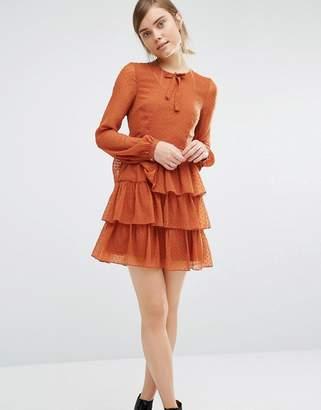 Vero Moda Tie Neck Tiered Dress $58 thestylecure.com