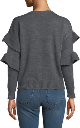 philosophy Cable-Knit Sweater with Ruffled Sleeve