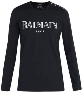 Balmain Button Shoulder Paris Logo T Shirt - Mens - Navy