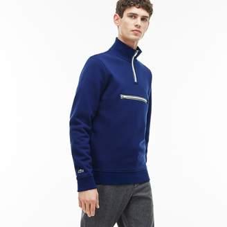 Lacoste Men's Fleece Zip Stand-Up Collar Sweatshirt With Piping