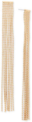 BCBGMAXAZRIA Gold-Tone Ball Chain Fringe Linear Drop Earrings