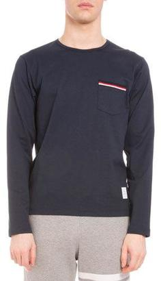 Thom Browne Striped-Trim Long-Sleeve Crewneck T-Shirt, Navy $390 thestylecure.com