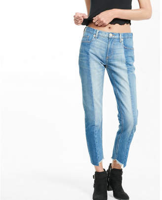 Express mid rise raw hem pieced original girlfriend jeans