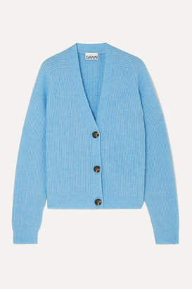 Ganni Ribbed-knit Cardigan - Blue