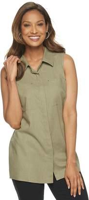 Dana Buchman Women's Sleeveless Linen-Blend Button Front Top