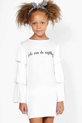 boohoo Girls Tiered Sleeve Dress