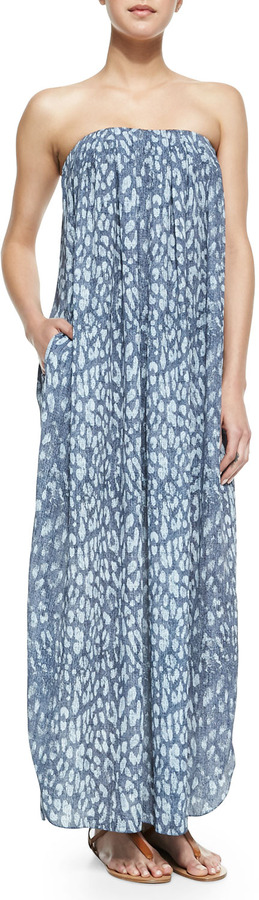 L'Agence Strapless Printed Maxi Dress