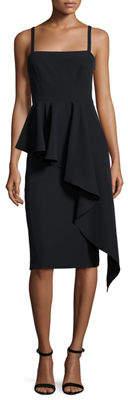 Milly Italian Cady Cascading Ruffle Midi Sheath Dress