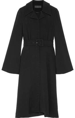 Co Belted Crepe Midi Dress - Black