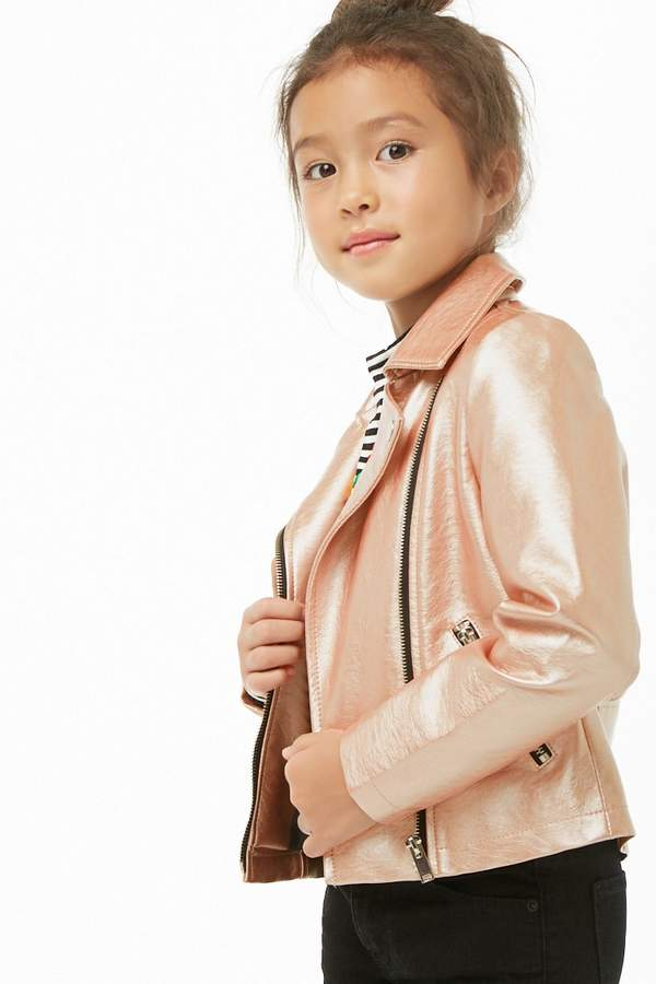 Forever 21 Girls Metallic Faux Leather Jacket (Kids)
