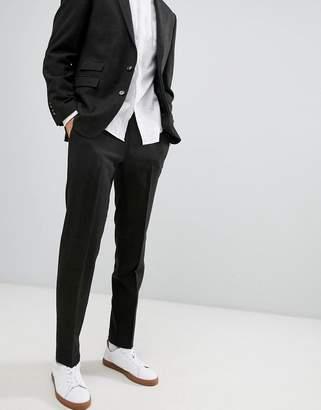 Moss Bros skinny wool tweed suit pants in khaki