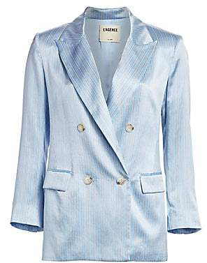 L'Agence Women's Taryn Striped Silk Blazer - Size 0