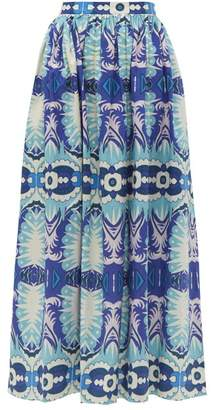 Le Sirenuse Le Sirenuse, Positano - Jane Printed Cotton Poplin Midi Skirt - Womens - Blue
