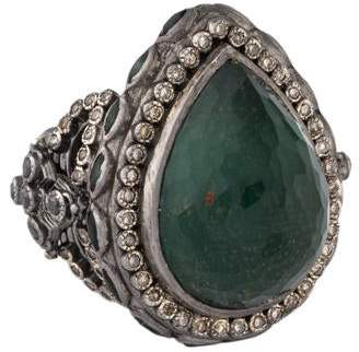 Armenta Bloodstone Doublet, Diamond & Tourmaline Cocktail Ring
