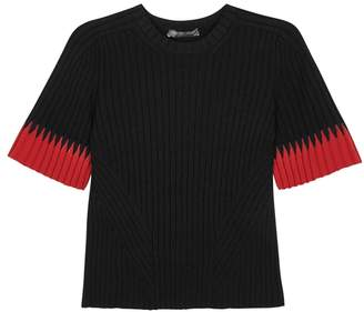 Alexander McQueen Two-tone Ribbed Stretch-knit Top