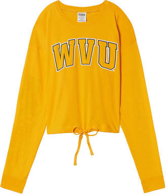 PINK West Virginia University Campus Cropped Drawstring Long Sleeve Tee